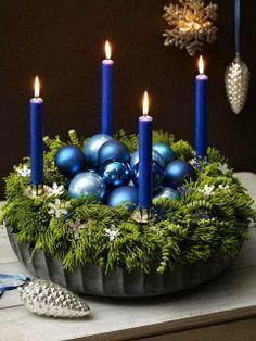 Most Fabulous Blue Christmas Decorating Ideas Christmas Celebrations Blue Christmas Decor, Christmas Candles, Simple Christmas, Winter Christmas, All Things Christmas, Christmas Holidays, Christmas Wreaths, Christmas Crafts, Xmas