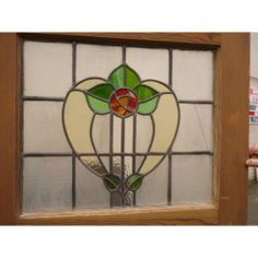 031 Handmade 1930's Stained Glass Panel - Soft Tulip
