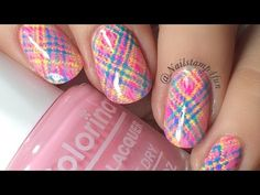 How to: Neon plaid Nail Stamping tutorial - YouTube