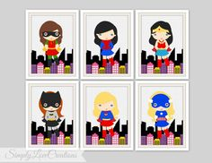 Hey, I found this really awesome Etsy listing at https://www.etsy.com/listing/190701892/superhero-prints-comic-book-girls-room