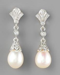 Penny Preville Diamond & Pearl Drop Earrings