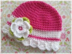 Pink Posey2-Hot Pink-White Striped Crochet-Crochet Flower Clip-Vintage Inspired-Toddler Hat-Baby-M2M Giggle Moon Spring-M2M Sweethoney