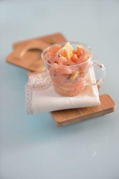 Una tartare di salmone con pompelmo, arancia e senape in grani   GiKitchen* La Cucina Psicola(va)bile di Iaia & Maghetta Streghetta
