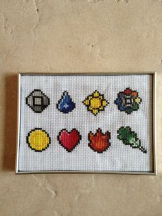 Pokemon Kanto Gym Badges CrossStitch by BadgerCreations on Etsy, $28.00