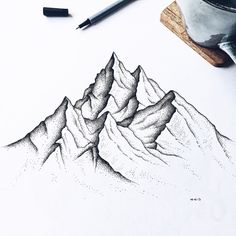 Best Picture For dessin croquis personnage For Your Taste You are looking for something, and it is g Mountain Sketch, Mountain Drawing, Mountain Tattoo, Mountain Art, Dotted Drawings, Pencil Art Drawings, Art Drawings Sketches, Art And Illustration, Mountain Illustration