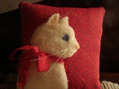 Cat On Old Red Quilt Pillow