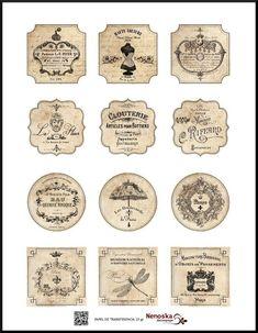 Calcomania PT006 | Nenoska Decoupage Vintage Bottles, Vintage Labels, Vintage Ephemera, Decoupage Vintage, Vintage Crafts, Paris Cards, Foto Transfer, Jar Labels, Cricut Tutorials