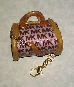 Kawaii Polymer Clay Designer Purse Charm - Beige Beckground, Brown Lettering  with Gold Accents. $9.95, via Etsy.