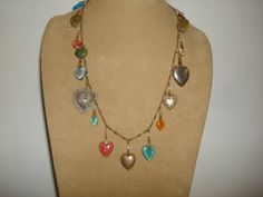 """Vintage Glass Works Studio Glass & Embossed Metal HEART CHARM Necklace ~ 18 Charms ~ (21"""" long) by PastPossessionsOnly on Etsy"""