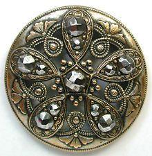 Antique Pierced Brass Button Fancy Floral w/ Large Cut Steel Accents