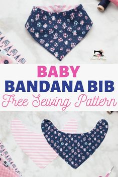 FREE Bandana Bib Sewing Pattern & Tutorial Sew an adorable baby bandana bib with this easy beginner-friendly sewing tutorial! Perfect for baby shower gifts and teething toddlers. Love Sewing, Baby Sewing, Dress Sewing, Sewing Hacks, Sewing Tutorials, Sewing Tips, Tutorial Sewing, Diy Baby Bibs Tutorial, Sewing Crafts
