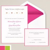 A hot pink border surrounds a design of miniature hearts. The hot pink envelope liner completes the look. Free sample available. #exclusivelyweddings