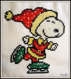 Snoopy loves to Skate! Snoopy Christmas, Christmas Cross, Christmas Gifts, Xmas, Cross Stitching, Cross Stitch Embroidery, Cross Stitch Designs, Cross Stitch Patterns, Christmas Cartoon Characters