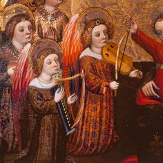 Jaume Cabrera Compartimento de un retablo con la Virgen y el Niño y ángeles músicos Barcelona Primer cuarto del siglo XV Pintura al temple sobre madera 75,5 x 123,5 cm Procedencia desconocida MEV 1948 El Museo Episcopal de Vic