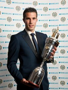 Arsenal striker Robin van Persie was rewarded for his stunning  goalscoring exploits in the Premier League by being voted the player of  the season by his peers on Sunday.