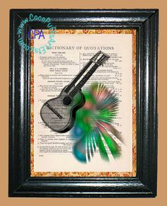 12 String Guitar with Mod Green Lights - - Vintage Dictionary Book Page Art-Upcycled Page Art,Wall Art, Collage Art,Mixed Media Art by CocoPuffsArt on Etsy