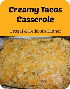Creamy Tacos Casserole is a frugal and delicious dinner that makes great leftovers! Its a great dish to bring over to a friend who just had a baby or a neighbor who is sick. We have also made it in quantity for family reunions and for company. Its a crowd-pleaser and always has people asking for the recipe.