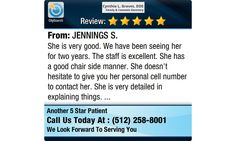 She is very good. We have been seeing her for two years. The staff is excellent. She has...