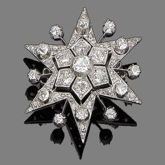 A diamond star brooch/pendant, circa 1890 The six-rayed star set throughout with old brilliant and rose-cut diamonds, accented with similarly-cut diamond spokes