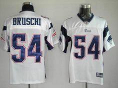 916245738 Patriots  54 Tedy Bruschi White Stitched NFL Jersey