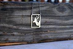 Deer Antler Jewelry. SALE. Deer Silhouette Necklace. Oh Deer. Deer Mount. Stag Necklace. Bust. Silver huDeer and Antlers. Hunter.