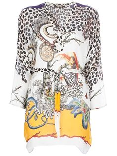 ROBERTO CAVALLI - belted caftan top 1. Y'all know how much I love a caftan....sincerely, Mrs. Roper ;)
