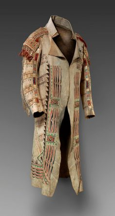 """Ojibwa, Ontario, Canada, ca. 1789. Native leather, rawhide, pigment, porcupine quills, glass beads, and deer hair, 48-7/8 x 27-5/8"""", Gift of Ned Jalbert in honor of the 75th anniversary of The Nelson-Atkins Museum of Art and funds from the exchange of William Rockhill Nelson Trust properties, 2008. source: http://arttattler.com/archivenativeamericana.html"""