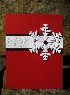 Elegant Snowflake by catcrazy – Cards and Paper Crafts at Splitcoaststampers – Christmas DIY Holiday Cards Cricut Christmas Cards, Homemade Christmas Cards, Christmas Cards To Make, Christmas Greetings, Homemade Cards, Handmade Christmas, Christmas Crafts, Christmas Tree, Christmas Island
