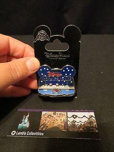 Disney Pin DCL Cruise Line Ship Starry Night w/ Mickey Wave Logo Diorama New