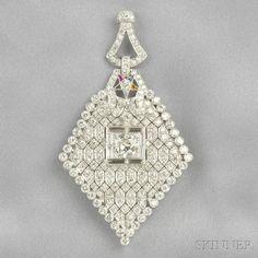 Art Deco Platinum and Diamond Pendant | Sale Number 2641B, Lot Number 520 | Skinner Auctioneers