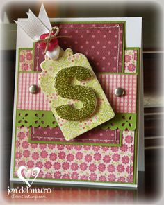 This is a tutorial on making the glitter/glazed letter, but I like the card and want to keep it for inspiration