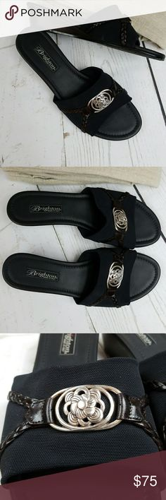 """Brighton wedges Brighton micro fiber wedges. Leather trim with unmistakable Brighton silver hardware. Comfortable 1.5"""" heel. Size 9M. NWOT. Brighton Shoes Wedges"""