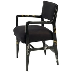 Gio Ponti and Piero Fornasetti Armchair | From a unique collection of antique and modern armchairs at https://www.1stdibs.com/furniture/seating/armchairs/