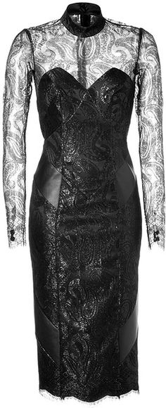 L'Wren Scott Lace & Leather Dress in Black