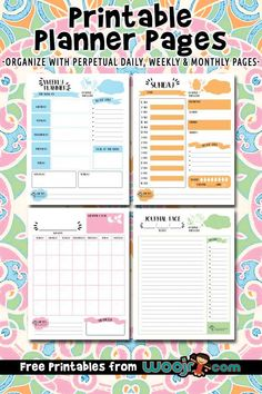 50 total free printable planner pages - 10 each in 5 colors with weekly, monthly and daily agendas Kids Planner, Daily Planner Pages, Monthly Planner Printable, Printable Calendar Template, Free Planner, Planner Template, Weekly Planner, Happy Planner, Budget Planner