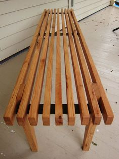 ON SALE Nelson Inspired slatted oak bench by LuttrellDesigns, $150.00: