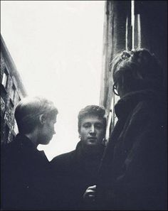 """sirpeter64:  Rare shot of John Lennon and Astrid Kircherr in Hamburg.    Early 1962 - Mike McCartney's photograph taken of Astrid, John and Stu standing outside The Cavern. Astrid and Stu came over to Liverpool just prior to Stu's death. Published in Mike McCartney's first book in which he commented: """"I sent this one to John and Yoko in New York, just for the memory."""""""