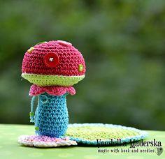 Crochet pattern - Mushroom coaster by VendulkaM / Amigurumi / Kitchen table / Autumn Decoration / Digital tutorial / Pdf Crochet Coaster Pattern, Crochet Patterns, Crochet Ideas, Crochet Toys, Crochet Baby, Funny Crochet, Knit Crochet, Crochet Mushroom, Funny Gifts