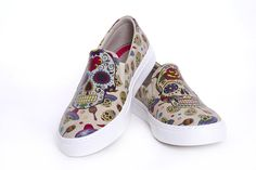 Slip on sneaker shoes with skulls / sugar skull / Goby shoes / comfortable shoes / printed design / original print / whowhatwear / fashionista