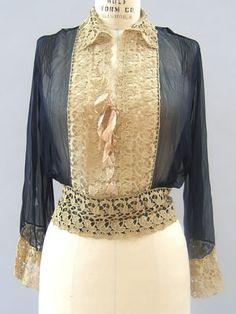 Navy Silk Chiffon Blouse make star  1900 -1910 Navy Blue and Cream womans [Silk Chiffon and Cotton Lace]