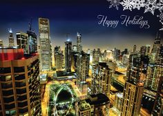 chicago christmas thank you cards Chicago At Night, Chicago River, Chicago Christmas, Business Holiday Cards, New Year Card, Chicago Illinois, Beautiful Architecture, Photo Cards, San Francisco Skyline
