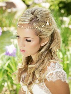 Gold, Pearl, Crystal Chain Wrap Headband, Pearl Halo, Bridal Halo Headpiece, Wedding Headdress, Bridal Hair Piece, Forehead Piece, STYLE 315...