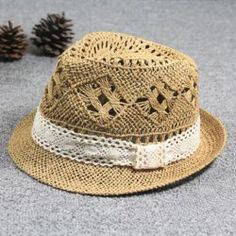 $7.69 Casual Style Lace Embellished Openwork Straw Hat For Women