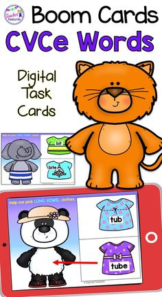 BOOM CARDS PHONICS | LONG VOWELS | CVCe | Students identify long vowels by choosing the correct clothes to put on the animals. This Boom Card deck contains 30 Boom Cards. Ideal for individual work or literacy centers to assess mastery of word and vocabulary skills. #longvowels #CVCe #BoomCards #TeacherFeatures #BoomCardsfirstgrade #1stgrade #phonics