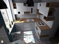 Kuchnia Warszawa Muranów - Mała kuchnia w kształcie litery l w aneksie, styl skandynawski - zdjęcie od CKkwadrat