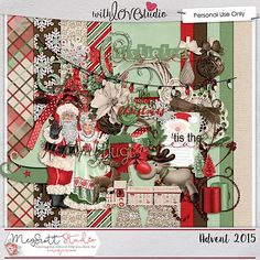 Advent 2015 digital scrapbooking mini kit from Meg Scott Studio. This classic Christmas kit with Santa and Mrs. Claus along with Rudolph is a perfect kit for you Holiday photos. It is simple and basic with its frames, candles, snowflakes, word art, trees, ornaments, glitters, flowers and more but it has all the classic charm to it.
