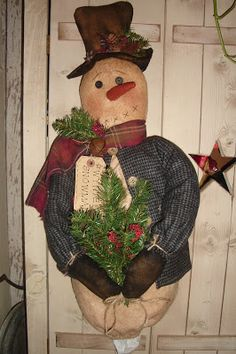 The Olde Country Cupboard: New pattern, Snowmen and dolls, Scarecrow I won on ebay