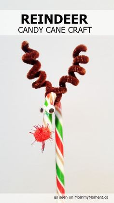 Kids can make this simple Reindeer Candy Cane craft!