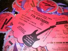 Rock Glam Birthday Invitation: Girls Rocker Glam Birthday Invitation