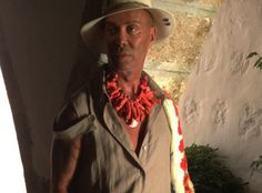 """Lakis Gavalas wears necklaces from the """"Uncivilized Cameo"""" collection by Pericles Kondylatos"""